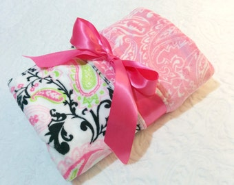 CLEARANCE SALE - NOW just 20 dollars - Ready to Ship - Minky Baby Blanket - Pink and Black  Paisley with Pink Paisley  Minky - Crib  Size