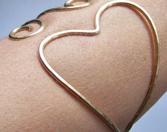 """SALE Armlet - LOWER ARMLET - Armband - 8"""" to 8.5"""" Arm Band Heart Gold Arm Bracelet - Ready to Ship - 50% Goes to Breast Cancer Survivor"""