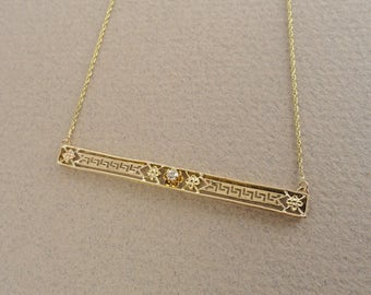 Oh-So-Delicate Vintage Yellow Gold and Diamond Filigree Bar Pendant and Chain, circa 1940 (A1651)