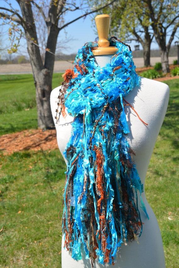 Knit Fringe scarf, Dumpster Diva, Vibrant Aqua Blue and Copper satin ribbon knit artsy fringed knit scarf, ribbon scarves, Aqua Beach, boho