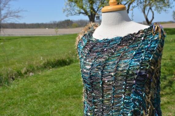Hand knit fringed poncho, Montage, Wearable art, Fringed Poncho, Teal shawl, teal Purple Poncho, Knit sweater, wraps, boho, tribal, large