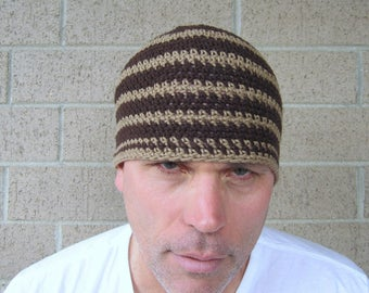 men's summer linen cotton beanie/ khaki brown stripe crochet