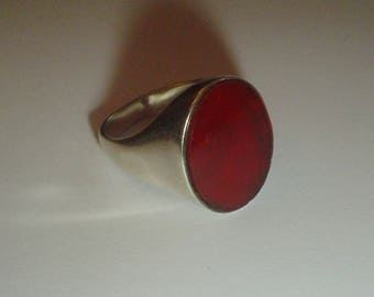 Signet ring sterling silver carnelian vintage size 9 UK R & 1/2