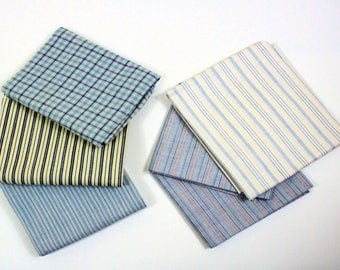Blue Cotton Woven Fabrics, Striped Fabric, Checked Cotton Fabric, SIX pieces, 5 different cotton woven fabrics,
