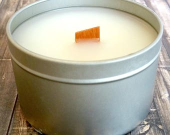 Peony Handmade Scented Soy Candle 5.7 oz Free Shipping, soy candle tin, soy wax, round candle, wood candle, white candle, peony candle
