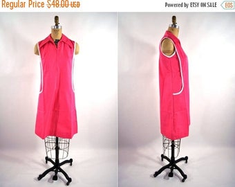 50% OFF SALE // 1960s dress vintage 60s bright pink shift S