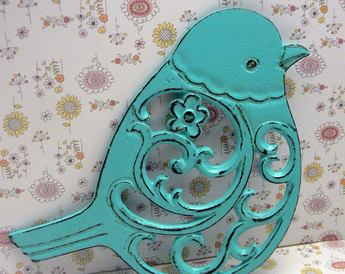 Cast Iron Bird Floral Trivet Turquoise Shabby Chic Kitchen Decor