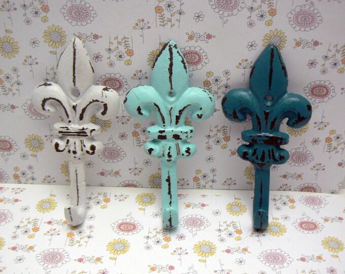 Fleur de lis Cast Iron Cottage Chic White Beach Blue Teal FDL Set 3 Wall Hooks Home Decor