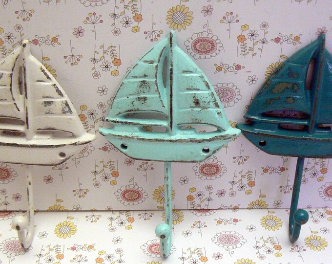 Sailboat Cast Iron Wall Hook Set of 3 Shabby Chic White Blue Teal Nautical Beach Home Decor