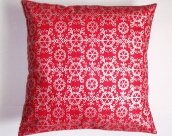 SUMMER SALE - Handmade CHRISTMAS Throw Pillow Cover, Snowflakes in Red Accent Pillow Cover, Ornate Winter Snowflakes in Red & Silver Cover