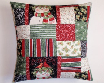 SUMMER SALE - Winter SNOWMAN Throw Pillow Cover, Snowman & Cardinal Patchwork Accent Pillow Cover, Cozy Winter Cushion Country Cover