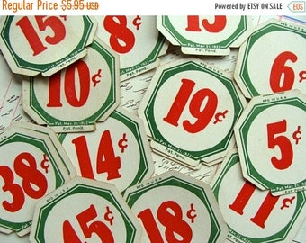 ON SALE Antique Numbers 1922  Price Tag Lot of a Dozen Ephemera Tags