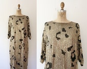 vintage tunic dress / vintage cocktail dress / Leopard Sequin dress