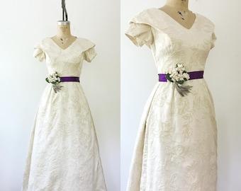 vintage wedding dress / silk wedding dress / Devore velvet & Silk wedding dress