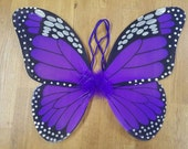 """Purple Butterfly Wings - Purple Monarch Butterfly Wings - Butterfly Costume Wings - Kids Butterfly Wings - Toddler Butterfly Wings - 13""""x15"""""""