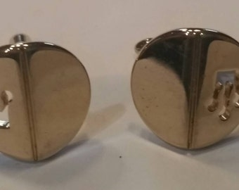 Gold tone vintage crown cufflinks mens