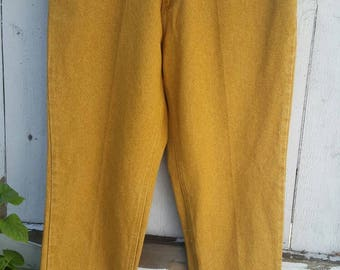 Vintage high waisted Jordache jeans,  NOS, mustard yellow, tags, mom jeans, 80s