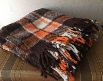 Stadium Blanket Plaid Brown Orange Tassles Fringe Vintage