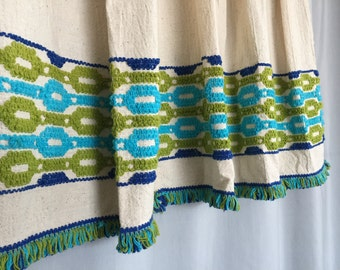 Vintage Curtains Set of 2 Pinch Pleat Blue Green Fringe