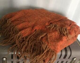 Orange Blanket Brown Fringe Alpaca and Wool Vintage Noble Excellence Boho Home Decor