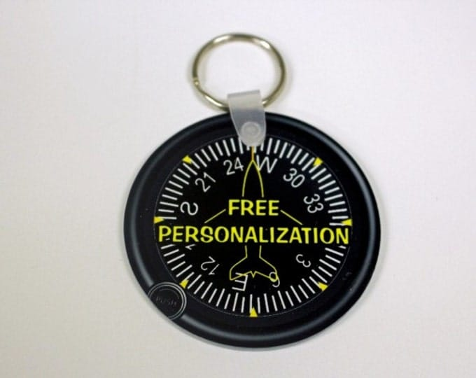 Direction Heading Indicator Aviation Personalized Round Double Sided Key Chain