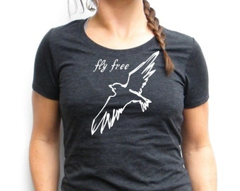 Fly Free Tshirt - Fly Free Screenprint - Bella Canvas Triblend Short Sleeve - Small, Medium, Large, XL