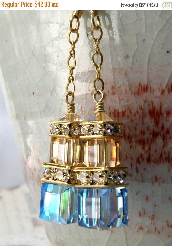 Blue Champagne Crystal Earrings, Aquamarine, Gold Filled, Long Dangle Bridesmaid, Teal Wedding Jewelry, Bridal, March Birthstone Birthday