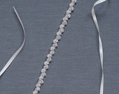 Silver Bridal Sash | Thin Rhinestone Wedding Belt | Skinny Wedding Dress Sash | Crystal Bridal Belt [Danaë Sash]
