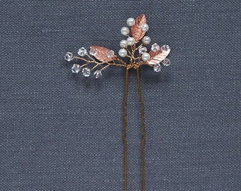 Rose Gold Hair Comb | Wedding Hair Pin | Bridal Hair Piece | Bridesmaid Hair Pin | Rose Gold Leaf | Pearl Headpiece [Iverness Hairpin]