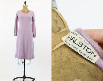 70s Dress Halston Small Medium  / 1970s Cashmere Sweater Dress /  Lavender Fields Dress