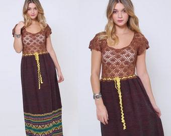 Vintage 70s MEXICAN Dress Mocha LACE Dress EMBROIDERED Guatemalan Maxi Dress Hippie Boho Dress
