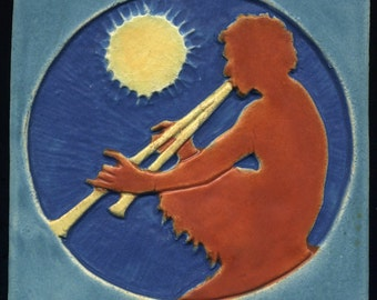 "Satyr Fantasy Tile - Handmade Art Tile - 6"" Square Ceramic - Colorful Stoneware Decorative Tile"