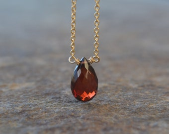 January Birthstone Garnet Necklace on Gold