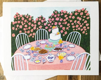 Greeting Card Blank Inside - Garden Tea Party