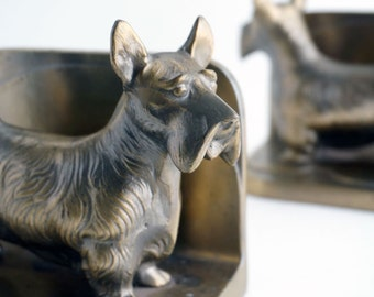Frankart style Scottie dog bookends, Scottish Terrier, mid-century home decor accessories