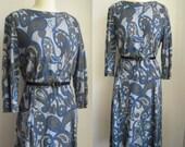 Vintage 1960s Blue Gray Jersey Wool Dress Size Medium