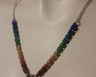 Rainbow chainmaille heart necklace