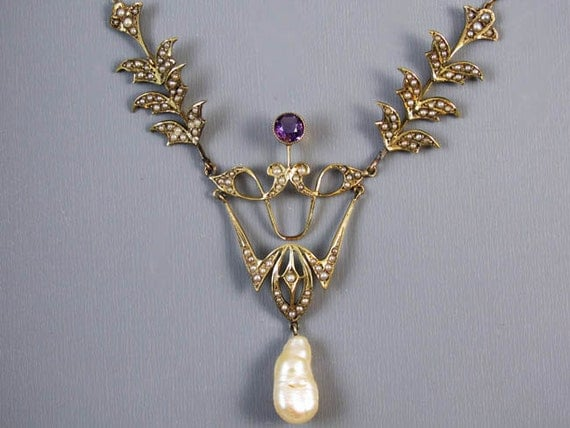 Fantastic antique Edwardian 14k gold 104 seed pearl amethyst and river pearl festoon necklace 8.5 grams