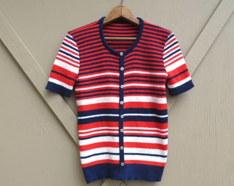 70s vintage Striped Acrylic Knit Short Sleeve Pullover Sweater / Red, White and Blue Striped Short Sleeve Sweater
