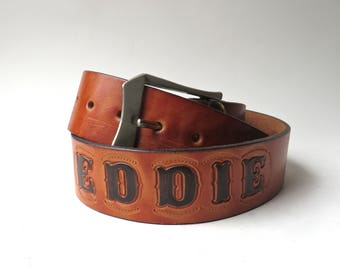 "70s vintage ""Eddie"" Hand Tooled Brown Leather Belt /  Personalized Tooled Leather Belt / Outdoorsman Tooled Leather Belt / Fisherman Belt"