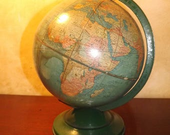 "Vintage Replogle Standard Globe 10"" Green Metal Base"