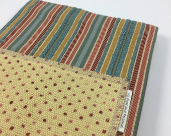 Get It Together - Fabric Covered Composition Book with Pocket - Teal Gold Red Stripes