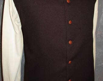 """Men's Brown  1600C Pirate  Rococo Regency Edwardian Gothic Victorian Style Vest Waist coat  35""""  (V63) FREE SHIPPING!!"""