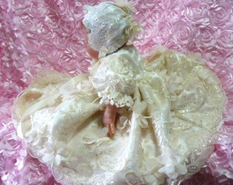DRESS Ivory Tulle 3D Embroidered for NEWBORN Baby or REBORN Doll 17 to 19 inches