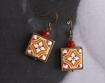 Earrings Tile Portugal Azulejos Portuguese  Antique Red FRAMED Ovar   (see Facade photo) - Gift Box included  Ships from USA 444