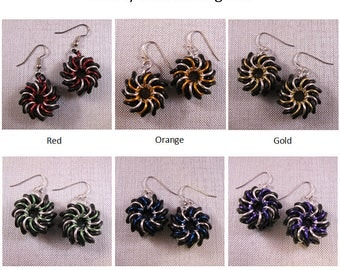 Sporty Rubber Whirly Bird Earrings - Choose accent color