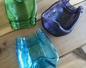 Melted Slumped Glass Purple, Blue, Green Mason Jars, Spoon Rest, Dish