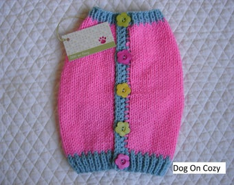 Dog Sweater, Hand Knit Pet Sweater, Button Back, Size SMALL, Pink