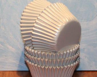 NEW - Mini White Foil Cupcake Liners (Qty 50) Mini White Foil Baking Cups, Mini Foil Cupcake Liners, Mini Foil Baking Cups, White Baking Cup