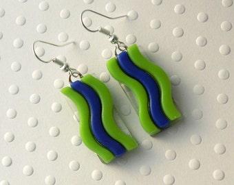 Seahawks Earrings - Fused Glass Earrings - Seattle Seahawks - 12th Man - Football Earrings - Football Jewelry - 12 - Blue And Green 1220